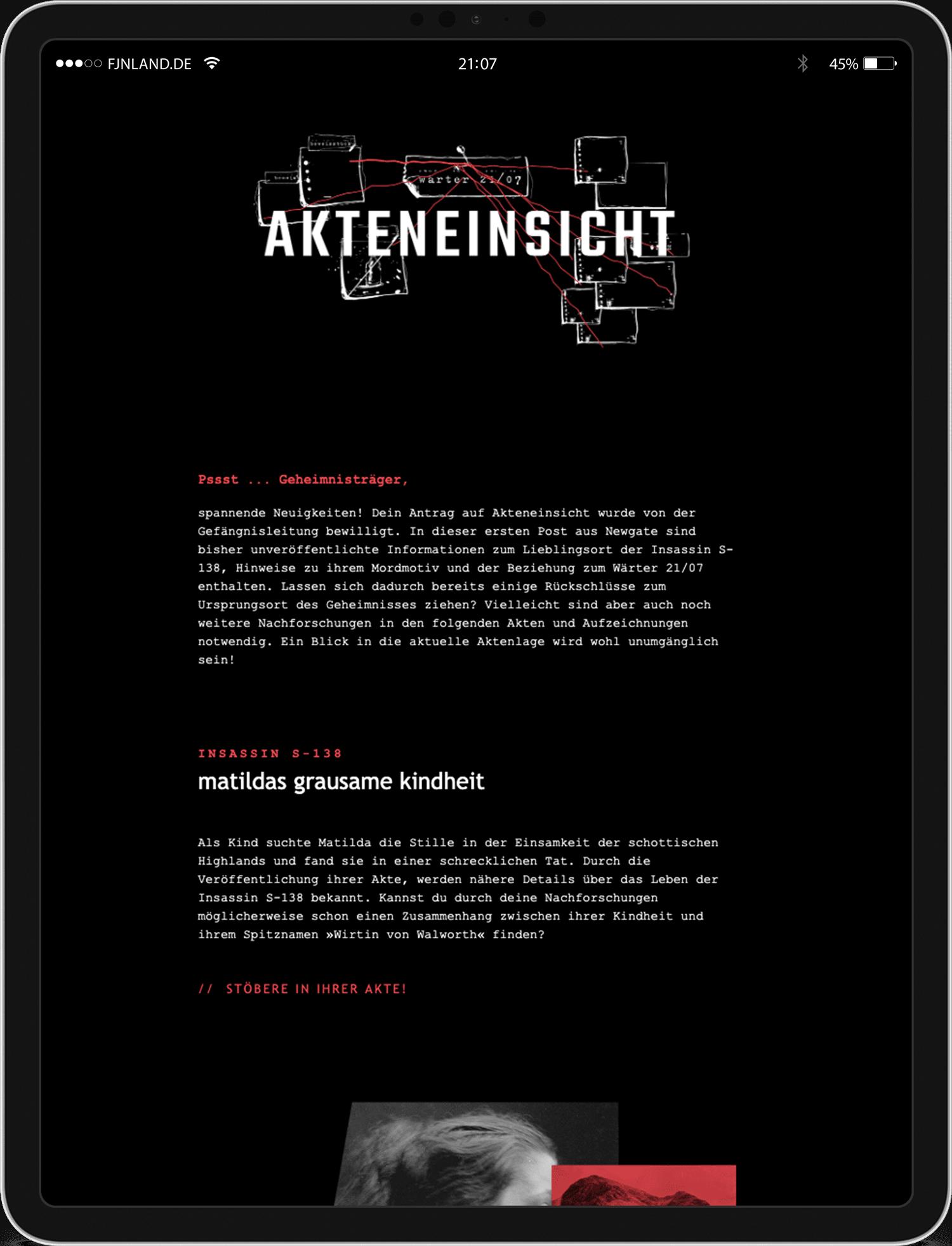 Akteneinsicht auf iPad, Informationen zur Geschichte des spannendsten London Dry Gin aus Würzburg