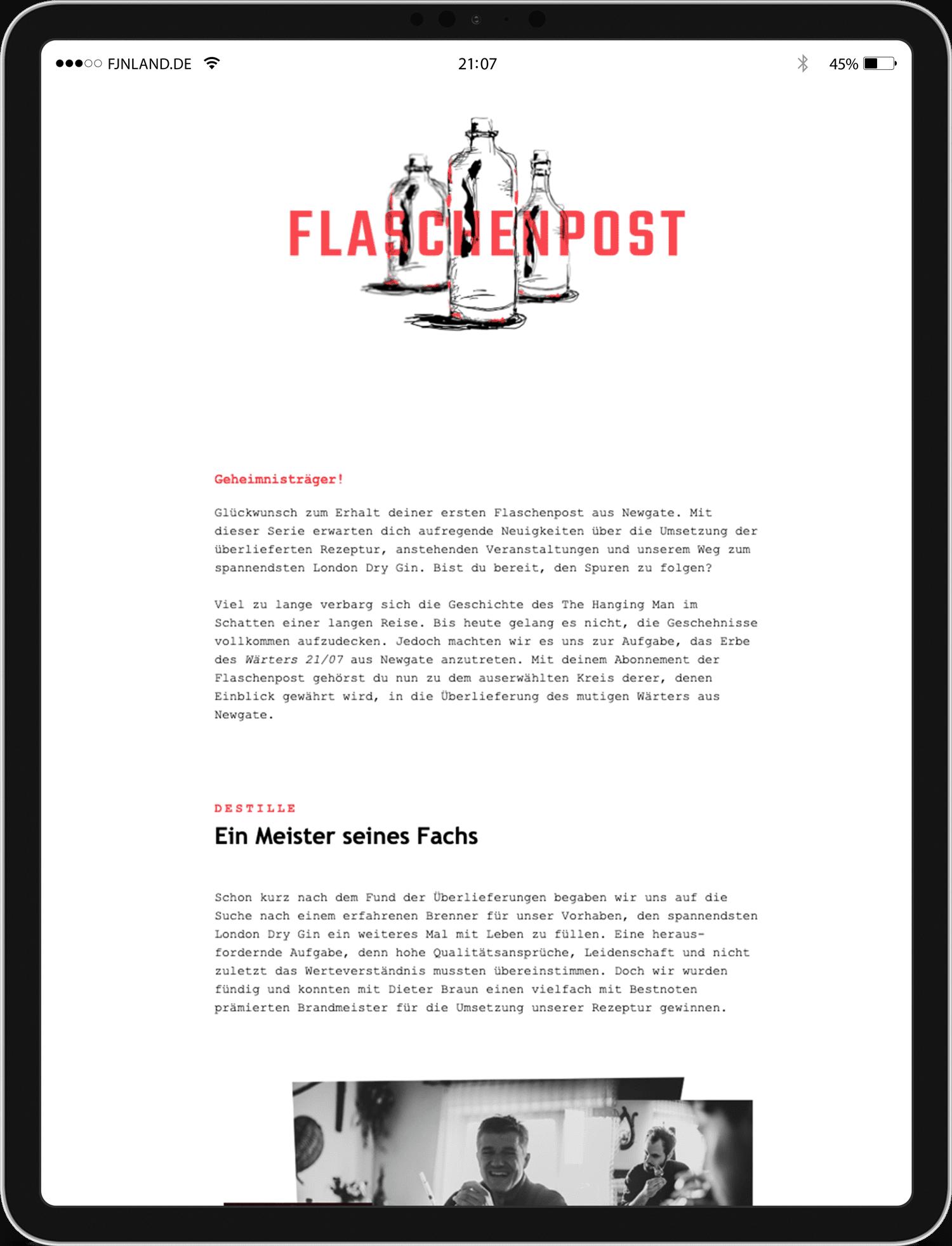 Flaschenpost auf iPad, Informationen über die Herstellung des spannendsten London Dry Gin aus Würzburg