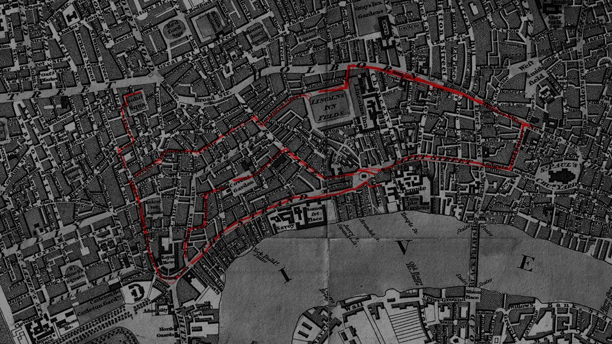 Historical map with the Warden's route in London