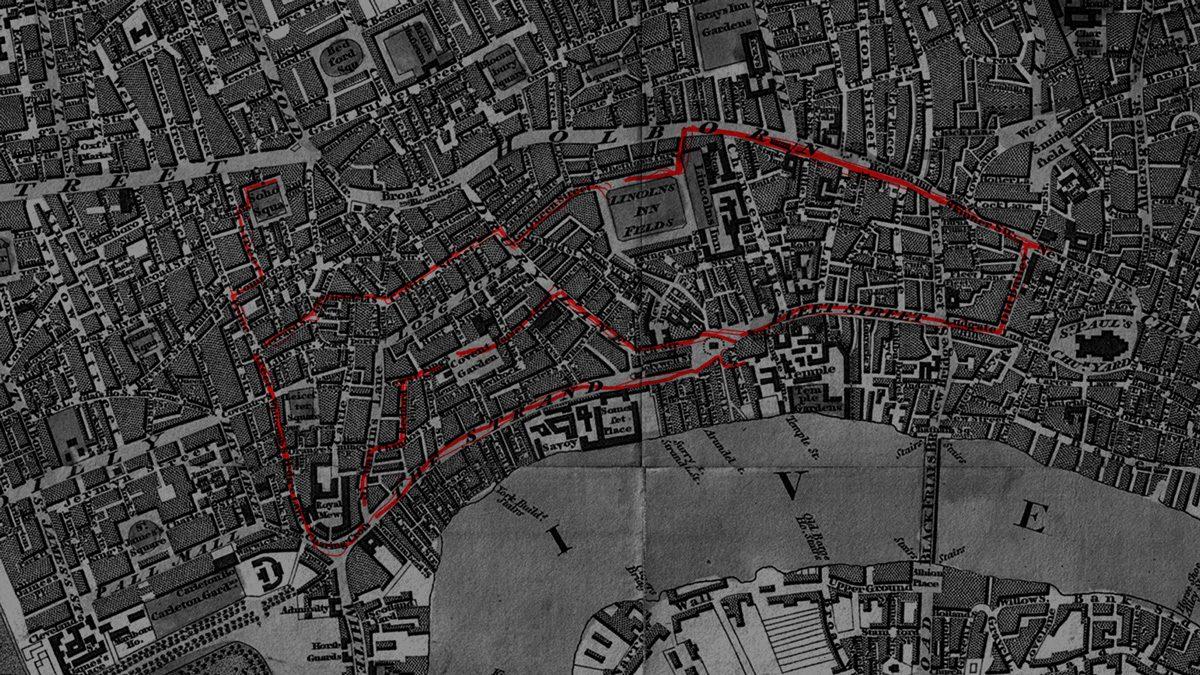 Historische Karte mit Laufweg des Wärters 21/07 in London